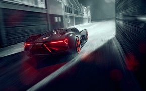 Обои Lamborghini, Light, Speed, Hypercar, Rear, Terzo Millennio