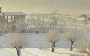 Картинка зима, деревья, пейзаж, дом, картина, Angelo Barabino, Снегопад в Тортоне