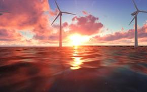 Картинка море, закат, ветряки