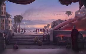 Картинка животные, пальмы, люди, берег, здания, ступени, dance before fire