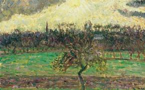 Картинка пейзаж, картина, Камиль Писсарро, Луг в Эраньи. Яблоня