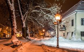 Картинка Зима, Снег, Фонари, Загреб, Samobor, Хорватия Дома
