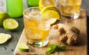 Картинка лимон, напиток, мята, лимонад, имбирь