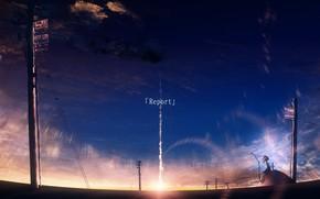 Картинка дорога, небо, девушка, лэп, Y_Y