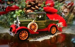 Картинка машинка, моделька, 1931 Ford truck, рождественская декорация