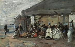 Картинка люди, картина, домик, жанровая, Эжен Буден, Eugene Boudin, Сцена на Пляже