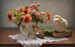 Картинка лето, цветы, натюрморт, овечка, композиция, июнь