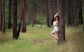 Картинка лес, лето, девушка, Kazakhstan, Murat Kuzhakhmetov, Forest girl