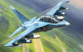 Картинка russian aircraft, Yak 130, painting art, jet fighter, yakovlev