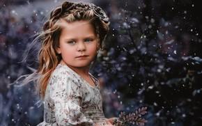Картинка взгляд, снег, веточка, настроение, девочка