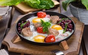 Обои яичница, помидоры, мясо, яйца
