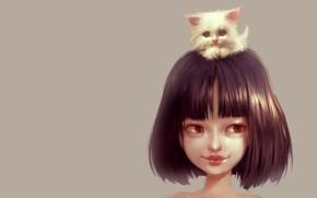 Картинка малыш, дружба, девочка, котёнок, пушистик, любимчик, Ilse Harting, Cat Lover