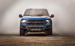 Картинка Ford, пыль, вид спереди, Raptor, пикап, F-150, SuperCrew, 2019