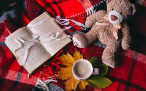 Обои Лента, Книга, Кофе, Игрушка, Мишка