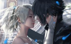 Обои girl, love, fantasy, game, art, blue eyes, kiss, boy, mood, hug, painting, artwork, fantasy art, ...