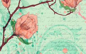 Обои фон, ветка, текстура, цветочки