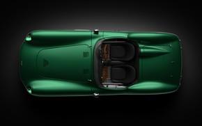 Картинка Aston Martin, Авто, Ретро, Машина, Фон, Сверху, Арт, Зеленая, Вид сверху, Рендеринг, Andreas Ezelius, DBR1, …