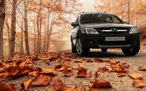 Картинка осень, листья, Lada Largus Cross, отечественная машина