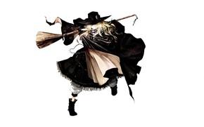 Обои Akira Banpai, метла, плащ, сапоги, Проект Восток, Marisa Kirisame, Touhou Project, art, белый фон, шляпа ...
