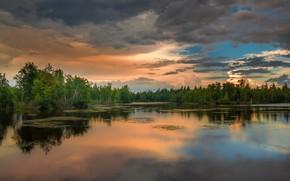 Обои закат, горизонт, озеро