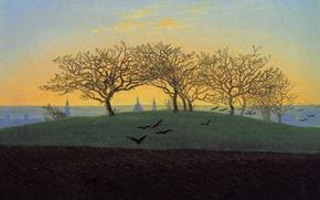 Картинка деревья, пейзаж, птицы, картина, Каспар Давид Фридрих, Холм и Пахотное Поле возле Дрездена