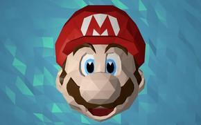 Картинка лицо, Марио, Mario, low poly, mario bros