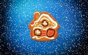 Обои Зима, Минимализм, Снег, Дом, Рождество, Домик, Снежинки, Фон, Новый год, Праздник, Печенька