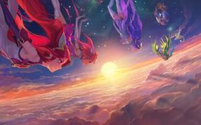Картинка Солнце, Небо, Облака, Чулки, Юбка, Звёзды, Арт, Wallpaper, Lux, League of Legends, Janna, LoL, Люкс, …
