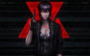 Картинка девушка, пистолет, оружие, Ghost in the Shell, кожаная куртка, Motoko Kusanagi, Мотоко Кусанаги, Призрак в ...
