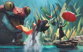 Картинка лодка, рыба, жаба, ребёнок, Hunter hunting