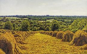 Картинка пейзаж, картина, Gustave Cariot, стога, Гюстав Карио, Поля Пшеницы, копны