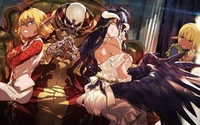 Обои аниме, Overlord, арт, Владыка, девушка, скелет