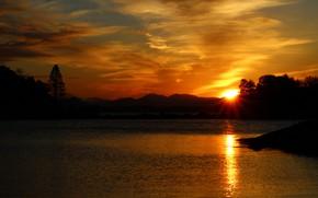 Картинка небо, пейзаж, закат, красота, водоем
