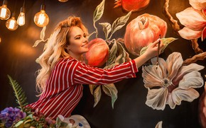Обои лампочки, девушка, настроение, рисунок, кисть, художница, Георгий Дьяков, картина