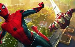 Обои yuusha, spider, uniform, boy, mask, Justice League, Tom Holland, Columbia Pictures, suit, cinema, Iron Man, ...
