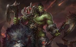 Картинка WoW, Орк, world of warcraft, MMORPG, Blizzard Entertainment, orc, Grommash Hellscream, jeremy chong