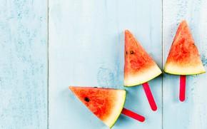 Картинка Арбуз, Watermelon, дольки семена, slices seeds