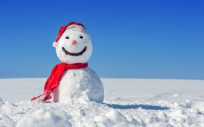 Картинка зима, снег, Новый Год, Рождество, снеговик, happy, Christmas, winter, snow, Xmas, snowman, santa hat