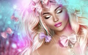 Картинка девушка, лицо, волосы, бантики