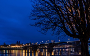 Картинка ночь, мост, огни, река, Германия, Mainz