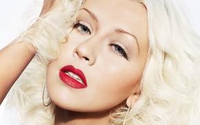 Картинка блондинка, певица, Christina Aguilera, красная помада