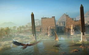 Картинка город, река, птица, орел, здание, вечер, крепость, египет, Assassin's Creed Origins