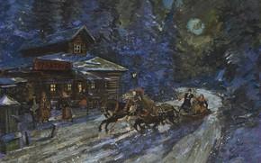 Картинка зима, ночь, картина, тройка, Константин Коровин, Moonlit Troika Ride