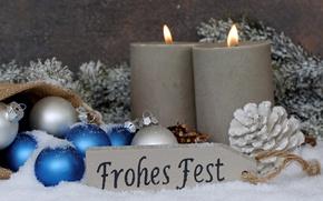 Картинка снег, шары, свечи, Новый Год, Рождество, merry christmas, decoration, xmas, holiday celebration