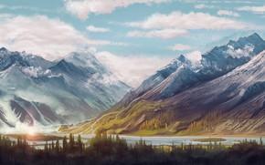 Обои painting art, river, snow, snowy peaks, trees, sky, artwork, clouds, forest, painting, digital art, peaks, ...