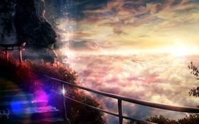 Картинка закат, горы, природа, лестница, боке, тории