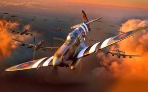 Обои Вторая Мировая война, Рисунок, WW2, Четырёхмоторный Бомбардировщик, Avro 683 Lancaster, истребитель, Supermarine, Spitfire Mk.IXe, Британский, ...