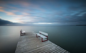 Обои море, скамья, мост