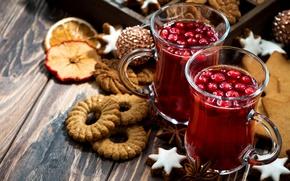 Картинка праздник, новый год, печенье, напиток, кружки, анис