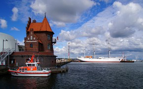Картинка парусник, Германия, порт, катер, Germany, барк, Stralsund, Штральзунд, Gorch Fock